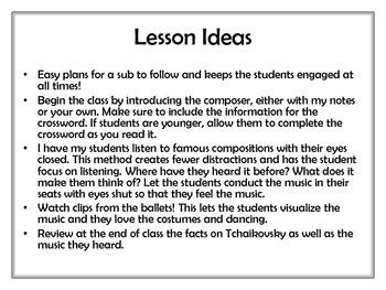 Tchaikovsky Lesson Plan