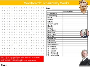 Tchaikovsky Works Wordsearch Puzzle Sheet Keywords Music Classical Musician