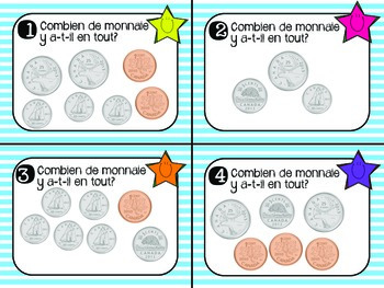 Tâches à cartes: La monnaie canadienne (Canadian Money Task Cards in French)