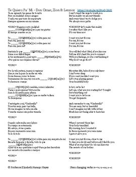 Te Quiero Pa' Mi - Don Omar Ft Zion & Lennox - Stem changing verbs