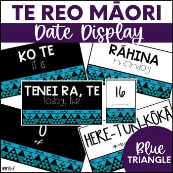 Te Reo Māori Date Display (Blue Traingles)