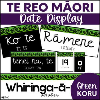 Te Reo Māori Date Display (Green Koru)