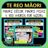 Te Reo Maori BUNDLE Watercolour Maori Decor Set + Mihi Word Wall + 100 Words