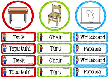 Te Reo in the Classroom Multi-purpose Te Reo and English Cards