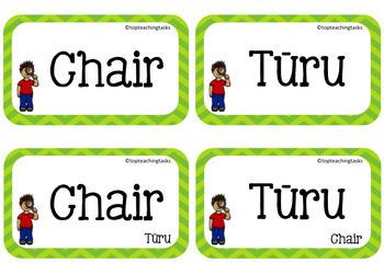 Te Reo in the Classroom Multi-purpose Te Reo and English Cards EDITABLE