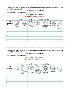¿Te gusta..?: Spanish Speaking activity about food likes and dislikes
