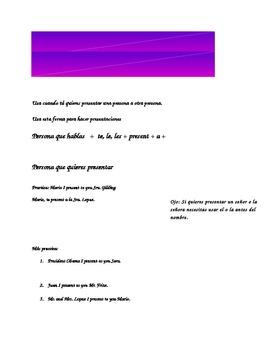 Te presento le presento Spanish notes page
