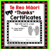 """Te reo Māori """" Thanks"""" certificates"""