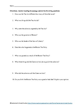 Tea Act & Boston Tea Party Reading Comprehension Worksheet - No Prep
