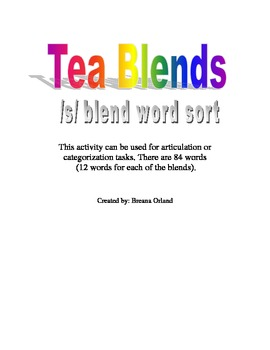 Tea Blend- /s/ blend activity