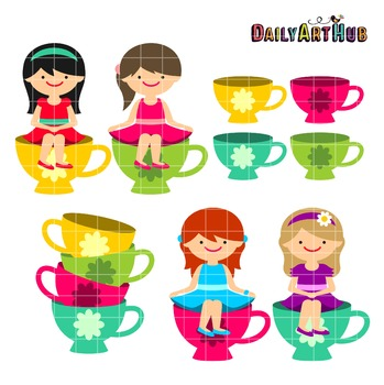 Tea Cup Girls Clip Art - Great for Art Class Projects!