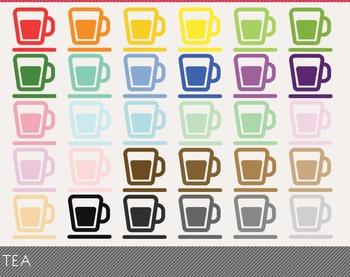Tea Digital Clipart, Tea Graphics, Tea PNG, Rainbow Tea Digital Files