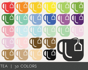 Tea Digital Clipart, Tea Graphics, Tea PNG, Rainbow Tea Di