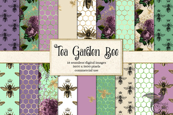 Tea Garden Bee Digital paper, seamless patterns, printable backgrounds