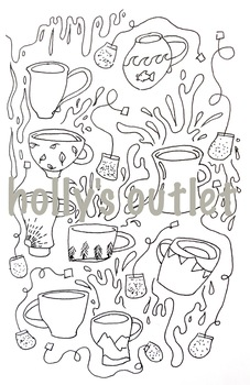 Tea Mug Clipart Coloring Page // Tea Bags, Mugs, Cups, Table Manners, Doodles
