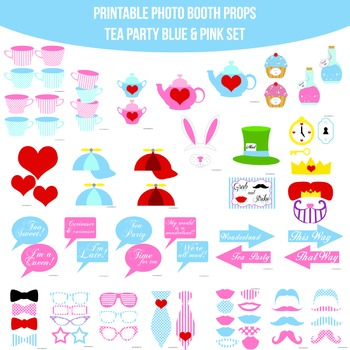 Tea Party Blue Printable Photo Booth Prop Set