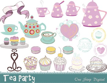 Tea Party Clip Art Cake Tea Pot Tea Cup Macron Cupcake Clip Art