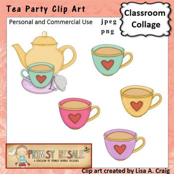 Tea Party Clip Art Color  personal & commercial use