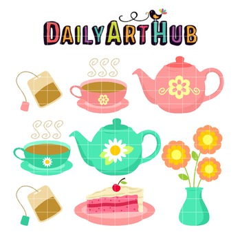 Tea Party Clip Art - Great for Art Class Projects!