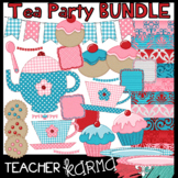 Tea Party Clipart BUNDLE: Clipart, Buntings, Frames & Digital Papers
