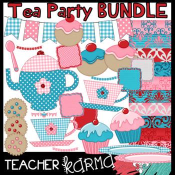 Tea Party Clipart BUNDLE: Clipart, Buntings, Frames & Digital Papers