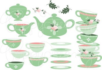 Tea Party Clipart and Digital Papers by Poppydreamz