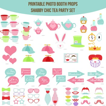 Tea Party Shabby Chic Printable Photo Booth Prop Set