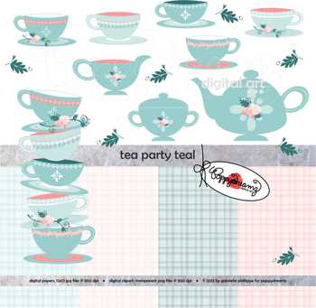 Tea Party Teal Clipart and Digital Papers by Poppydreamz