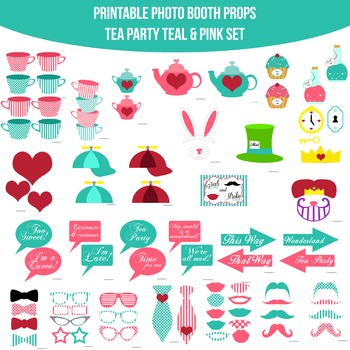 Tea Party Teal Printable Photo Booth Prop Set