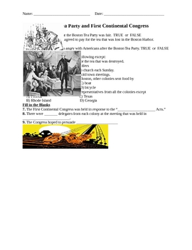 Tea Party and Continental Congress Assessment