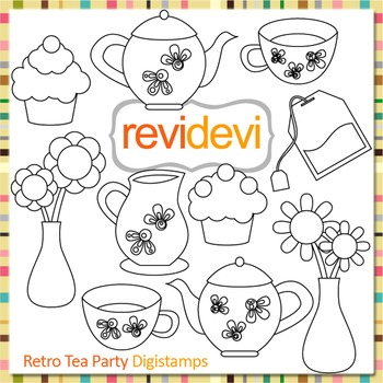 Tea Party clip art (digital stamps, coloring graphics) S062