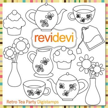 Tea Party clip art (digital stamps, coloring graphics) S062