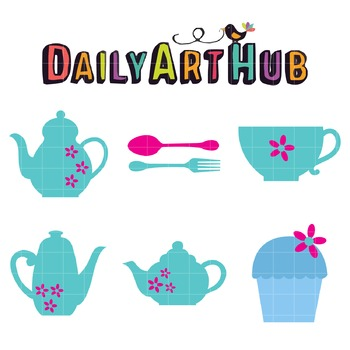Tea Set Clip Art - Great for Art Class Projects!