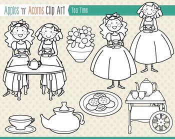 Tea Time Clip Art - color and outlines