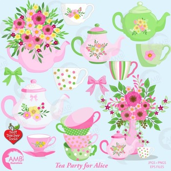 Tea Time Clipart, Shabby Chic Clipart, Mad Hatter Tea Party Clipart, AMB-1960