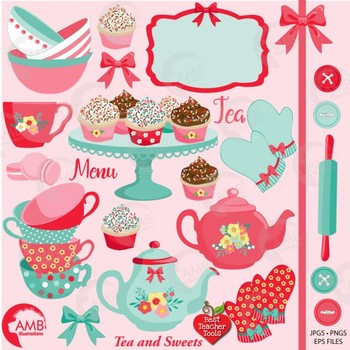 Tea Time Clipart, Shabby Chic Clipart, Tea Party Clipart, AMB-1972