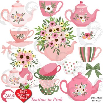 Tea Time Clipart, Valentine Days Clipart, Tea Party, Tea Pot Art, AMB-1981