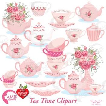 Tea Time Clipart, Valentine Days Clipart, Tea Party, Tea Pot Art, AMB-961