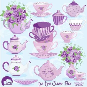 Tea Time Clipart, Valentine Days Clipart, Tea Pot Art, AMB-1196