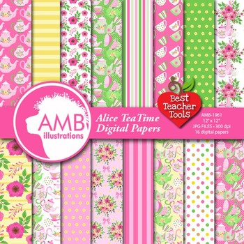 Tea Time Digital Papers, Tea Party Party, Valentines Day Digital Paper, AMB-1961