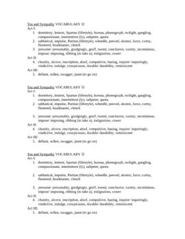 Tea and Sympathy Vocabulary List