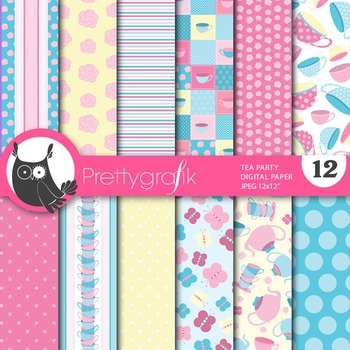 Tea party digital paper, commercial use, scrapbook papers - PS648