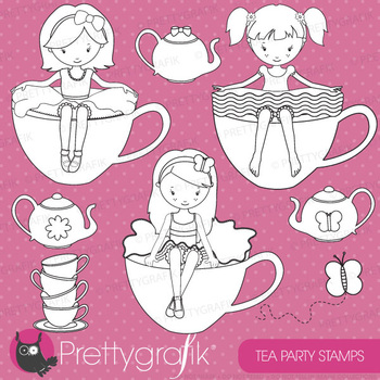 Tea party stamps commercial use, vector graphics, images - DS515