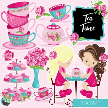 Tea time clipart commercial use, vector graphics, digital - CL953