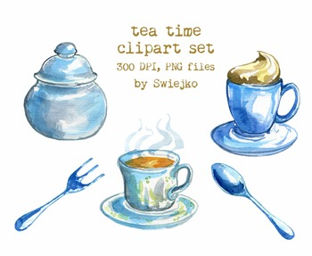Tea time clipart set, hand painted, watercolor