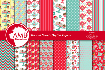Tea time digital papers, Teapot, tea cups, Cupcake papers AMB-1977