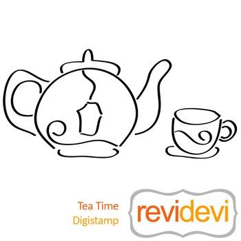 Tea time (digital stamp, coloring image) S047, tea cup and tea pot