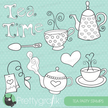 Tea time stamps commercial use, vector graphics, images - DS302