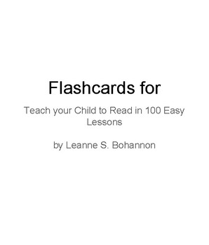 Teach 2 Read Flashcards Enhanced