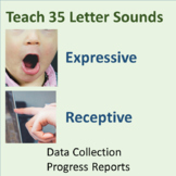 Teach 35 Letter Sounds--Expressive/Receptive--Data Collection-Progress Reports